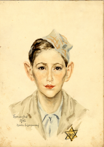 A watercolor painting on paper created by Zdenka Eismannova while she was interned in Theresienstadt depicting a young boy wearing a cap and a Jewish star. Date 1942 - 1943 Variant Locale Terezin Czech Republic Photo Designation ART OF THE HOLOCAUST -- Artists E Photo Credit United States Holocaust Memorial Museum, courtesy of Ron Neulinger