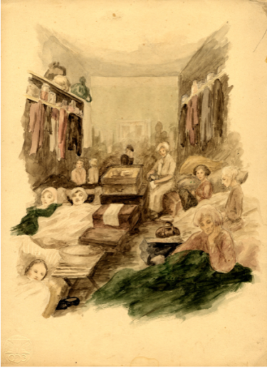 A watercolor painting on paper created by Zdenka Eismannova while she was interned in Theresienstadt depicting women lying down in a crowded barrack in the camp. Date 1942 - 1943 Variant Locale Terezin Czech Republic Photo Designation ART OF THE HOLOCAUST -- Artists E Photo Credit United States Holocaust Memorial Museum, courtesy of Ron Neulinger